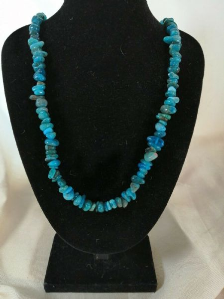 "Blue Apatite Chip Necklace 16"" to 34"", Long Necklace, Short Necklace"